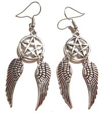 PENTAGRAM ANGEL WINGS EARRINGS silver bird feathers Supernatural pentacle new 6E