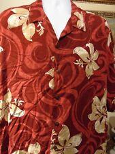 Hilo Hattie Men's Hawaiian Shirt Red Floral Short Sleeve 3XL