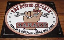 """WHIMSICAL """"BUSTED KNUCKLE GARAGE REPAIR & DESPAIR UNDER ONE ROOF"""" TIN WALL SIGN"""