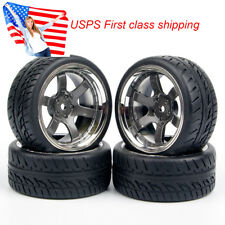 4pcs 1/10 On Road Rubber tires & Wheel rims 26mm Wide for HSP HPI 1:10 RC Car