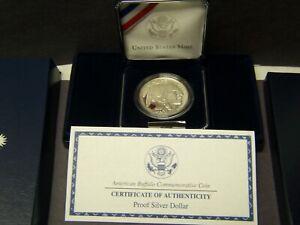 2001 P American Buffalo Proof Commemorative Silver Dollar Set Box & COA