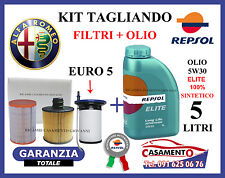 KIT TAGLIANDO FILTRI + OLIO REPSOL 5W30 ALFA GIULIETTA 1.6 JTD EURO 5