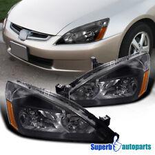 For 2003-2007 Honda Accord 2 4 Door Lx Ex Headlights Head Lamps Black