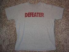 DEFEATER Logo Name Design T-SHIRT Gray (L) Large CONCERT Tour BOSTON HC Band Tee