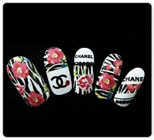Zebra Floral Pink Red Roses Water Transfer Nail Art Stickers Decals Decoration