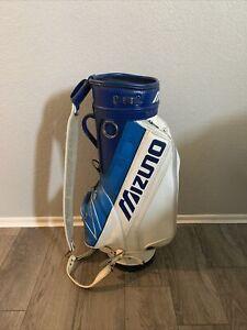 Vintage VTG Mizuno Fullsize Leather Tour / Staff Bag - Blue/White Golf Bag