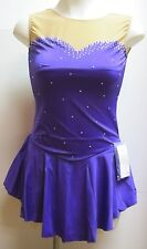 COMPETITION ICE FIGURE SKATING DRESS Purple Sweetheart Crystals Adult S NWT
