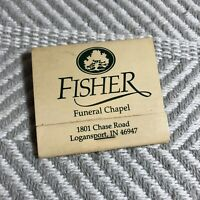 Fisher Funeral Chapel Indiana Vintage Matchbook Advertising