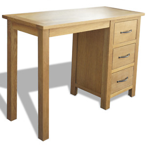 OAK Desk Wooden Computer Table 3 Drawers Wood Storage Office Hallway Living Room