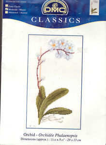 """White Orchid DMC Classics Counted Cross Stitch Kit 11"""" x 5"""" Linen BRAND NEW!"""