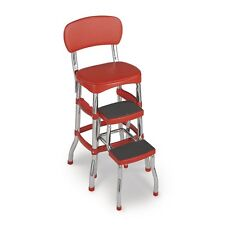 Cosco Retro Counter Chair Step Stool, With Cushioned Seat And Back 11120RED1E
