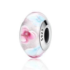 925 Silver Glitter Shimmer Pink Murano Glass Bead Fit European Bracelet Necklace