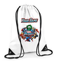 Marvel Heroes Personalised Drawstring Bag PE School Spiderman Hulk Wolverine