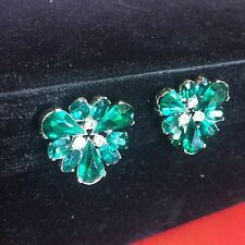 Vintage Bogoff Emerald Rhinestone Clip on Earrings Signed Green May Large Stone