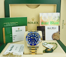 ROLEX 18kt Gold & SS SUBMARINER Blue 40mm BOX/CARD 116613 SANT BLANC