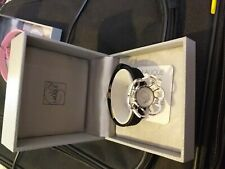 LALIQUE BRACELET  ADJUSTABLE LEATHER WITH CHARM-VERY ATTRACTIVE BLACK