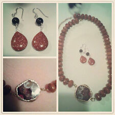 Matching Tiger Eye and Geode Stone Necklace Pendant and Earring Set