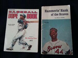 Hank Aaron lot of 2 Books 1971 Braves 1973 Baseball Dope Book vintage