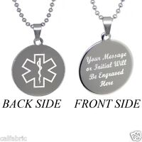 Medical Alert Id Tag Necklace Plus Free Custom Engraving Personalization