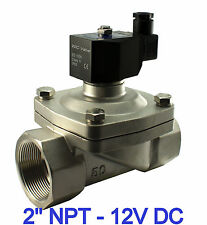 "2"" Inch Stainless Electric Solenoid Air Water Valve Normally Closed 12V DC Viton"