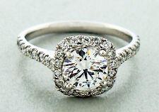 """Diamond 1.73 Carats Engagement Ring Set in Platinum """"G"""" Color GIA EX EX EX"""