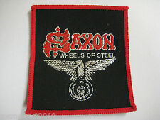 More details for saxon - wheels of steel - vintage 1980's sew on cloth patch new old stock