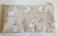 Woodland Bunnies Bunnies Taupe Fabric Pencil Case Make Up Bag Storage Pouch