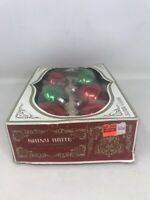 "VTG Glass Ball Christmas Ornaments Bulbs 2 5/8"" Red Green Shiny Brite Box Read"