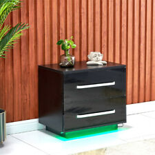 Modern High Gloss LED Bedside Table 2 Drawers Nightstand Side Cabinet Black New
