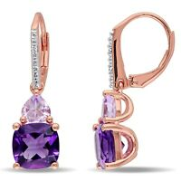 925 Sterling Silver Pear Amethyst Dangle Drop Earrings Jewelry for Women Ct 0.8
