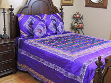 Purple Chic Embroidered Duvet Pillow Shams Set King - Beautiful Indian Bedding