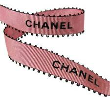 100% Authentic Chanel Pink Black Picot Feather Edge Ribbon