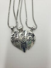Mom Big Sis & Lil Sis Heart Necklaces 3 piece