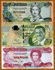 SET Bahamas, 1/2;1;3 dollars, 1974-2015, P-44-68-New UNC > Colorful Tropical