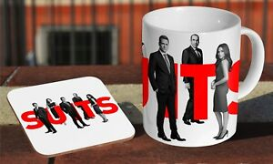 Suits TV Series Coffee MUG + Wooden Coaster Gift Set