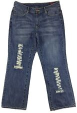 Seven 7 Women's Blue Distressed Boot Cut Denim Jeans 18 36/32