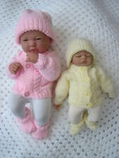 PREMATURE KNITTING PATTERN BABY DOLLS CABLE CARDIGAN HAT BOOTS SET