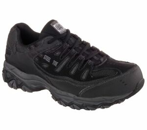 Skechers Men's 77055 Crankton Black Steel Toe Safety Work Relax Fit Shoes