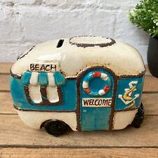 Ceramic Village Caravan Camper Van Pottery Money Coin Savings Piggy Bank Box B