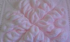 Hand Knitted Royal Embossed Leaves Baby Blanket/Shawl/Coverlet. New. Pink
