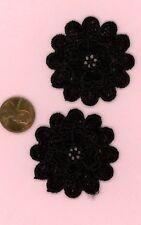 Miniature Dollhouse 2 Black Cotton Doily - Double Flower  005