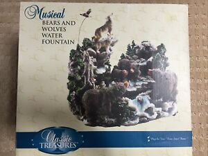 ⭐️RARE Vintage Classic Treasures Musical Bears and Wolves Water Fountain -NIB