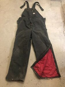 MENS 44 x 32 - Vtg Carhartt R02 Duck Double Knee Donut Hole Quilted Overall USA
