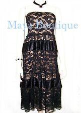 Black Lace Tube Dress / Skirt Embellished With Satin Ribbon Beige Lining S / M