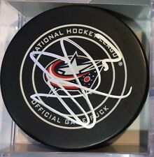 SIGNED AUTO OFFICIAL NHL GAME PUCK COLUMBUS BLUE JACKETS SETH JONES New