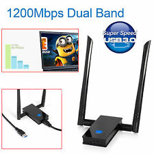 1200 MBPS WIRELESS USB ADATTATORE 802.11ac DUAL BAND 2.4/5GHz WIFI dongle rete UK