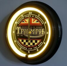 "TRIUMPH MOTORCYCLES RETRO THEMED LED SILENT WALL CLOCK. 30CM (12"") IN DIAMETER"