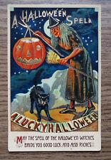 OLD ISL CO - A HALLOWEEN SPELL POSTCARD - WITCH -  BLACK CAT & PUMPKIN - GERMANY