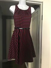 Modcloth Miin Striped Navy Red Dress vintage retro Small Fit And Flare