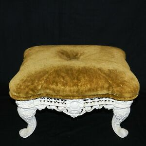 Antique Footstool Cast Iron Base Upholstery Green / White
